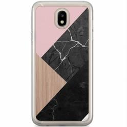 Casimoda Samsung Galaxy J3 2017 siliconen hoesje - Marble wooden mix