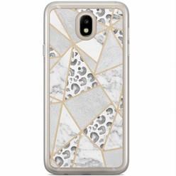 Casimoda Samsung Galaxy J3 2017 siliconen hoesje - Stone & leopard print