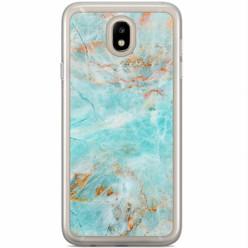 Casimoda Samsung Galaxy J3 2017 siliconen hoesje - Turquoise marmer