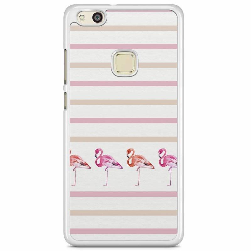 Huawei P10 Lite hoesje - Flamingo stripes