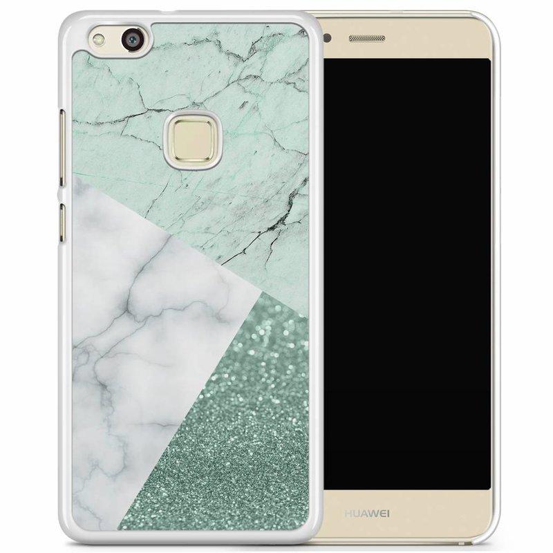 Huawei P10 Lite hoesje - Minty marmer collage