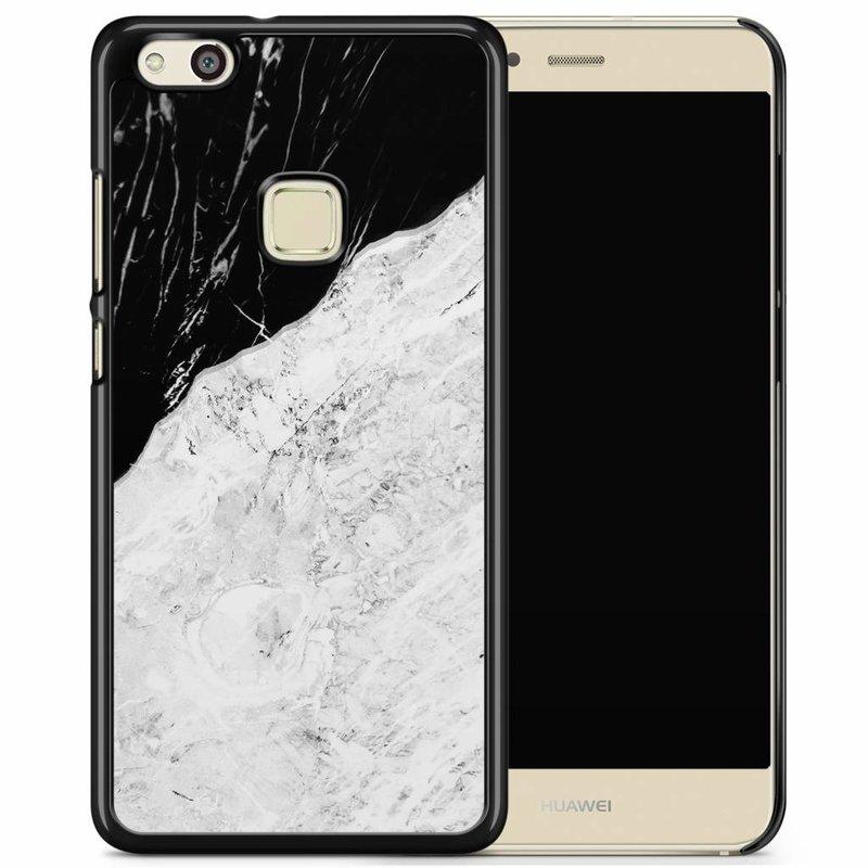 Huawei P10 Lite hoesje - Marmer zwart grijs