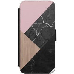 iPhone 8/7 flipcase - Marble wooden mix