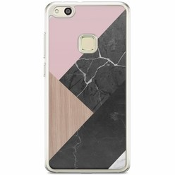 Huawei P10 Lite siliconen hoesje - Marble wooden mix