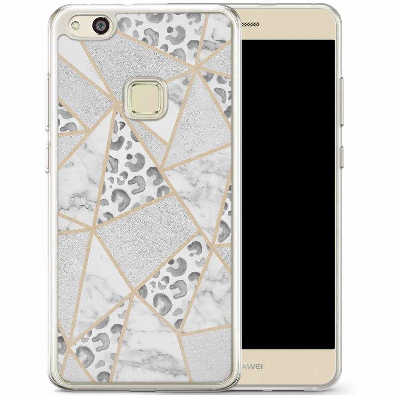 Casimoda Huawei P10 Lite siliconen hoesje - Stone & leopard print