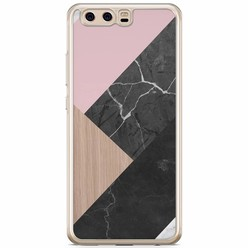 Huawei P10 siliconen hoesje - Marble wooden mix