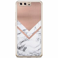 Casimoda Huawei P10 siliconen hoesje - Rose gold marble