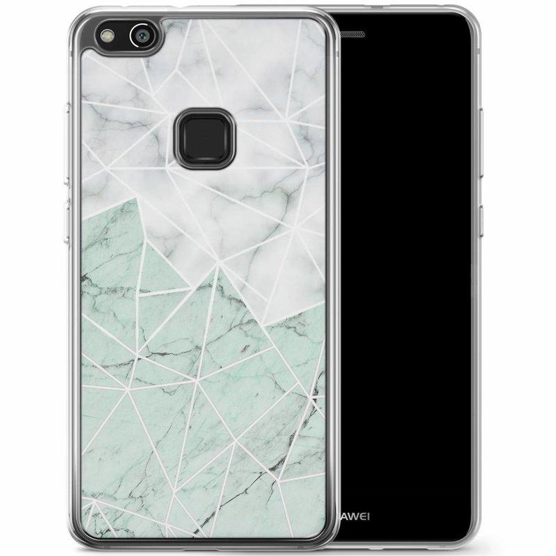 Casimoda Huawei P10 Lite siliconen hoesje - Marmer mint mix