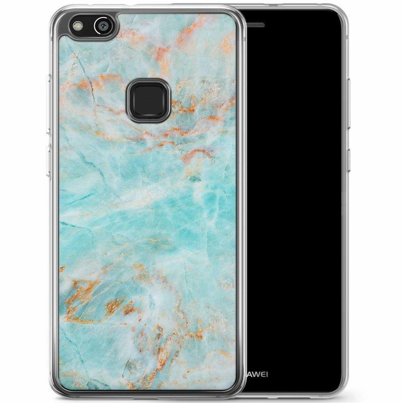 Casimoda Huawei P10 Lite siliconen hoesje - Turquoise marmer