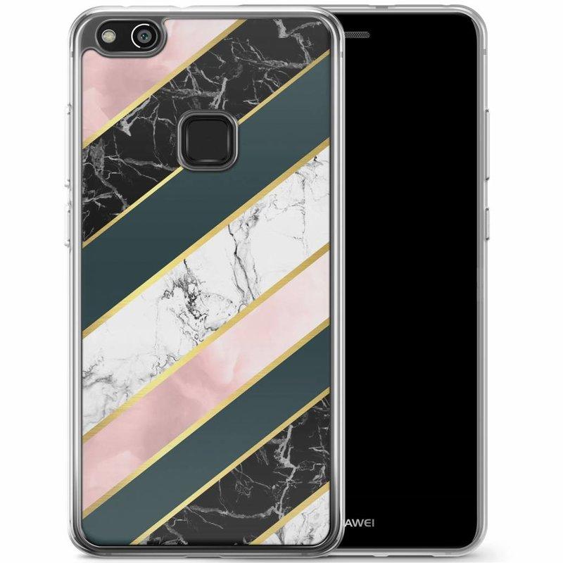 Casimoda Huawei P10 Lite siliconen hoesje - Marble stripes