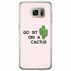 Samsung Galaxy S7 Edge siliconen hoesje - Go sit on a cactus