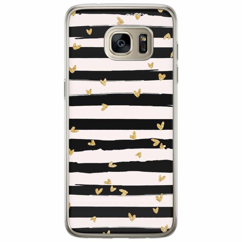 Casimoda Samsung Galaxy S7 Edge siliconen hoesje - Hart streepjes