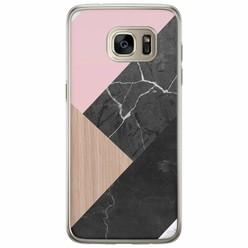 Samsung Galaxy S7 Edge siliconen hoesje - Marble wooden mix