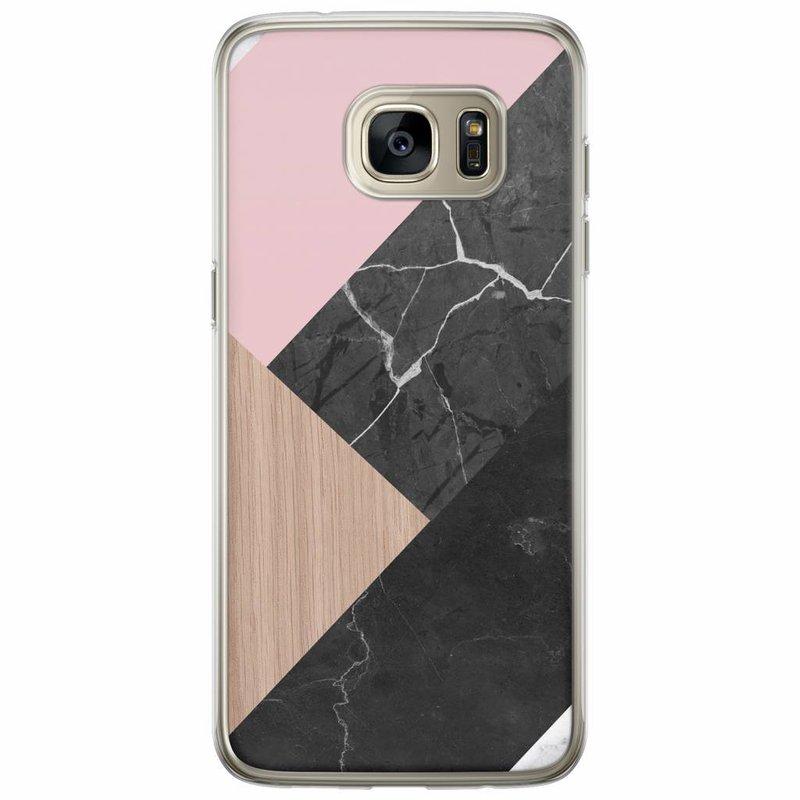 Casimoda Samsung Galaxy S7 Edge siliconen hoesje - Marble wooden mix
