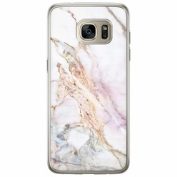 Samsung Galaxy S7 Edge siliconen hoesje - Parelmoer marmer