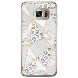 Casimoda Samsung Galaxy S7 Edge siliconen hoesje - Stone & leopard print