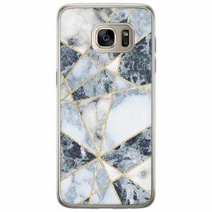 Casimoda Samsung Galaxy S7 Edge siliconen hoesje - Marmer blauw