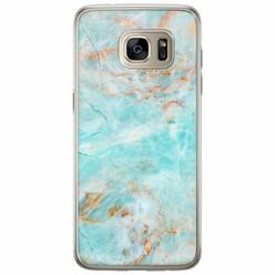 Casimoda Samsung Galaxy S7 Edge siliconen hoesje - Turquoise marmer