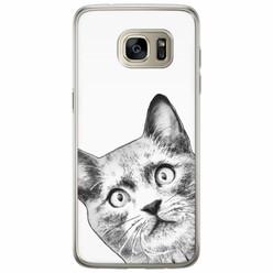 Casimoda Samsung Galaxy S7 Edge siliconen hoesje - Kiekeboe kat