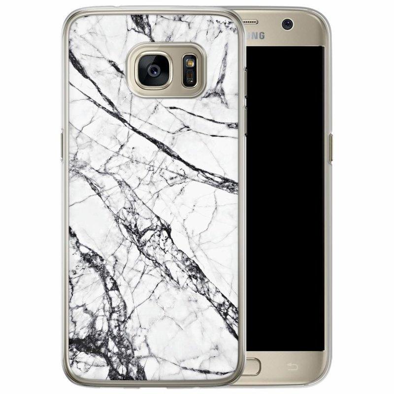 Casimoda Samsung Galaxy S7 Edge siliconen hoesje - Grijs marmer