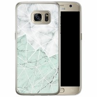 Casimoda Samsung Galaxy S7 Edge siliconen hoesje - Marmer mint mix