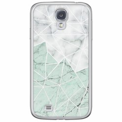 Samsung Galaxy S4 siliconen hoesje - Marmer mint mix
