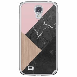 Samsung Galaxy S4 siliconen hoesje - Marble wooden mix