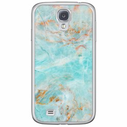 Samsung Galaxy S4 siliconen hoesje - Turquoise marmer