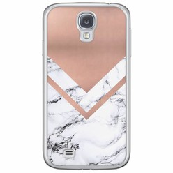 Samsung Galaxy S4 siliconen hoesje - Rose gold marble