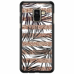 Samsung Galaxy A8 2018  hoesje - Rose gold leaves