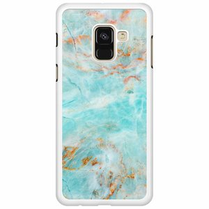 Samsung Galaxy A8 2018  hoesje - Turquoise marmer