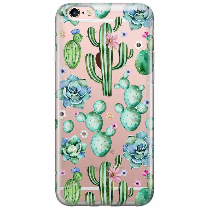 iPhone 6/6s transparant hoesje - All over cactus print