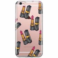 iPhone 6/6s transparant hoesje -  Lipstick print