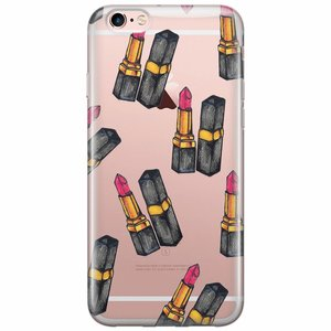 iPhone 6/6s transparant hoesje - Lipstick print