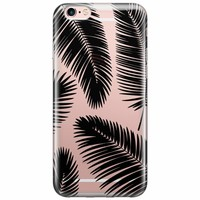iPhone 6/6s transparant hoesje - Palm leaves silhouette