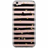 iPhone 6/6s transparant hoesje - hart streepjes zwart