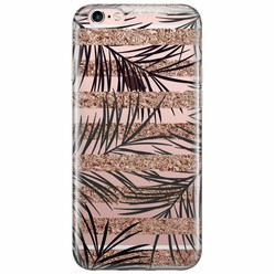 iPhone 6/6s transparant hoesje - Rose gold leaves