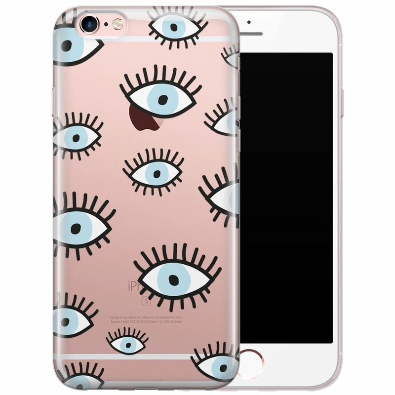iPhone 6/6s transparant hoesje - Ogen print