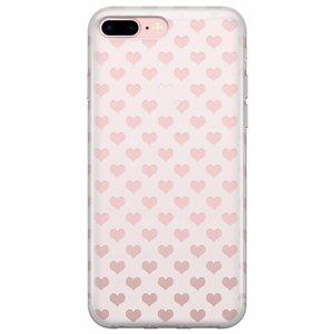 iPhone 8 Plus/7 Plus transparant hoesje - Hartjes patroon