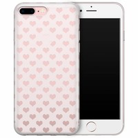 iPhone 8 Plus/7 Plus transparant hoesje - Hartjes patroon
