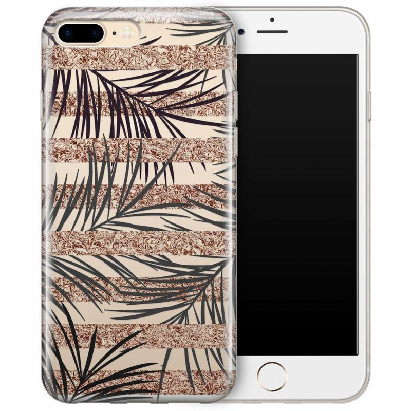 iPhone 8 Plus/7 Plus transparant hoesje - Rose gold leaves