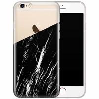 iPhone 6/6s transparant hoesje - Marmer zwart schuin
