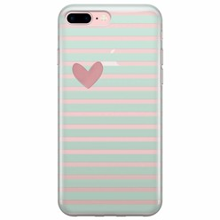 iPhone 7 Plus / iPhone 8 Plus transparant hoesje - Mint hart