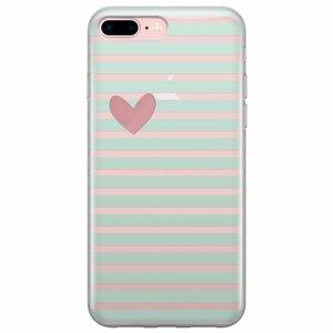 iPhone 7 Plus / iPhone 8 Plus transparant hoesje - Mint hart