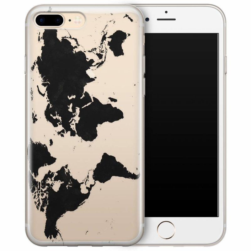 iPhone 7 Plus transparant hoesje - Wereldmap