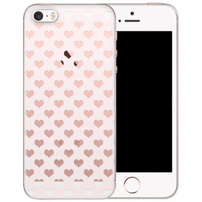 iPhone 5/5S/SE transparant hoesje - Hartjes patroon
