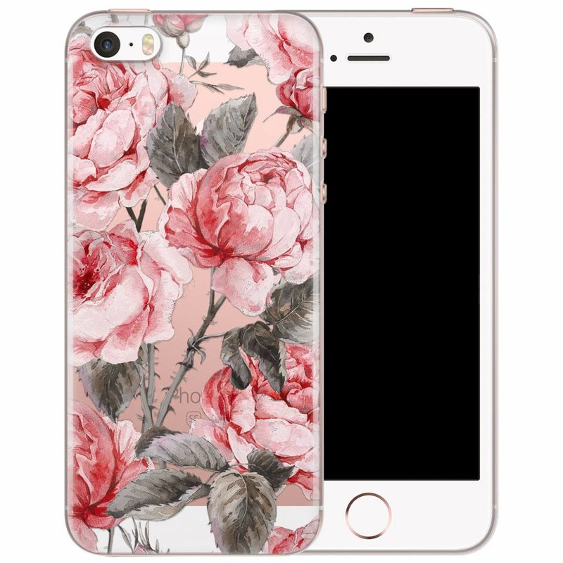 iPhone 5/5S/SE transparant hoesje - Moody florals