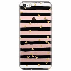 Casimoda iPhone 5/5s/SE siliconen hoesje - Hart streepjes