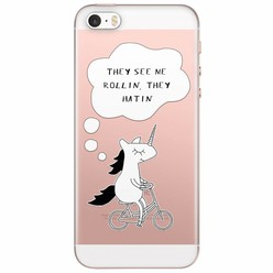 iPhone 5/5S/SE transparant hoesje - They see me rollin'