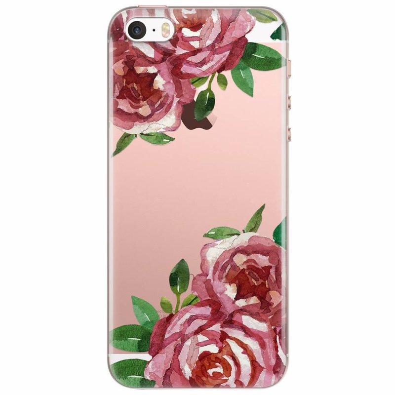 iPhone 5/5S/SE transparant hoesje - Rode rozen